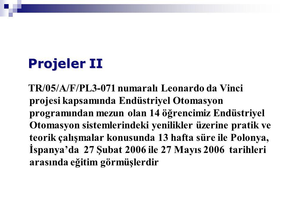 TR/05/A/F/PL3-071 numaralı Leonardo da Vinci projesi kapsamında Endüstriyel Otomasyon programından mezun olan 14 öğrencimiz Endüstriyel Otomasyon sistemlerindeki yenilikler üzerine pratik ve teorik çalışmalar konusunda 13 hafta süre ile Polonya, İspanya'da 27 Şubat 2006 ile 27 Mayıs 2006 tarihleri arasında eğitim görmüşlerdir