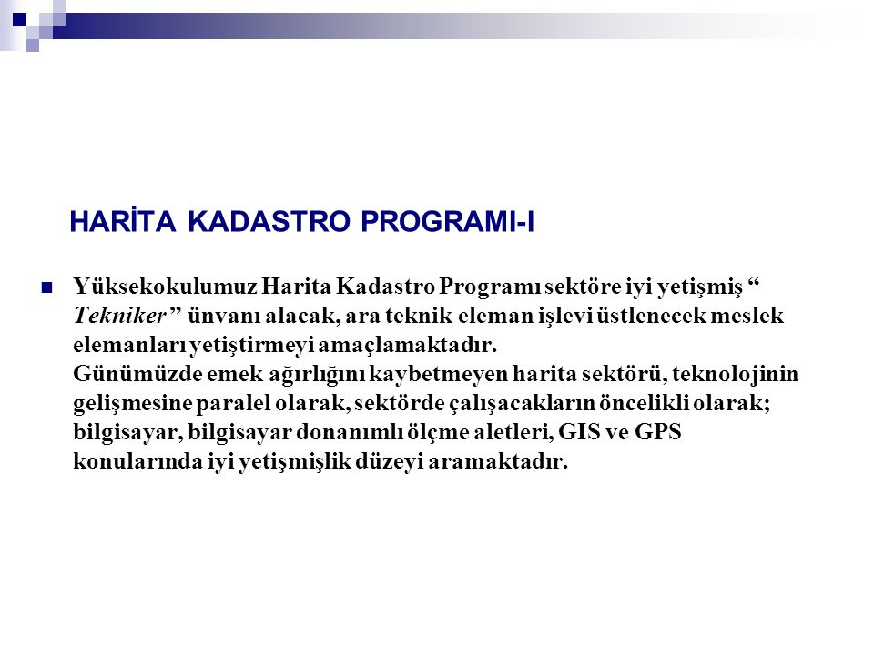 HARİTA KADASTRO PROGRAMI-I