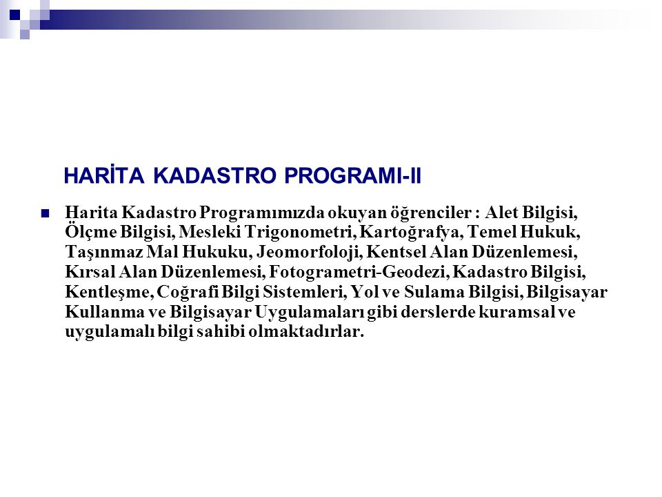 HARİTA KADASTRO PROGRAMI-II