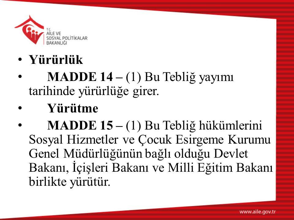 Yürürlük MADDE 14 – (1) Bu Tebliğ yayımı tarihinde yürürlüğe girer. Yürütme.