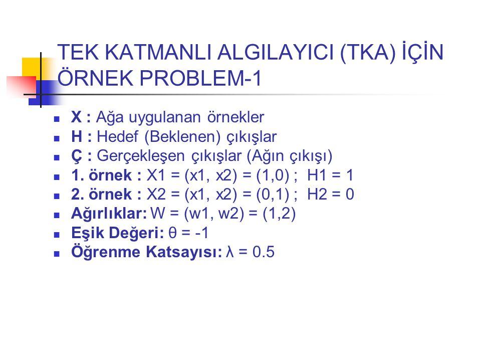TEK KATMANLI ALGILAYICI (TKA) İÇİN ÖRNEK PROBLEM-1