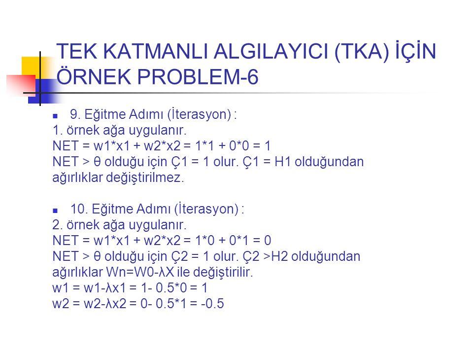 TEK KATMANLI ALGILAYICI (TKA) İÇİN ÖRNEK PROBLEM-6