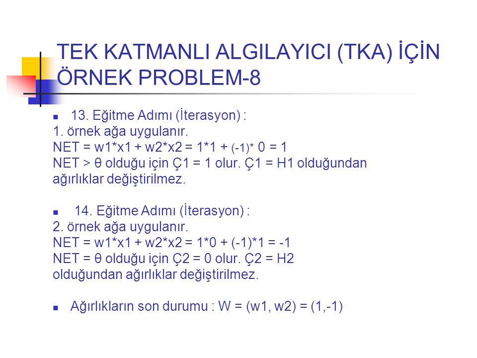 TEK KATMANLI ALGILAYICI (TKA) İÇİN ÖRNEK PROBLEM-8