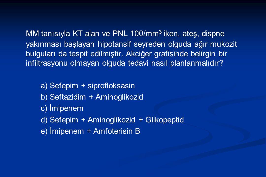 MM tanısıyla KT alan ve PNL 100/mm3 iken, ateş, dispne yakınması başlayan hipotansif seyreden olguda ağır mukozit bulguları da tespit edilmiştir. Akciğer grafisinde belirgin bir infiltrasyonu olmayan olguda tedavi nasıl planlanmalıdır