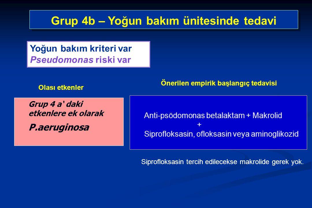 Grup 4b – Yoğun bakım ünitesinde tedavi
