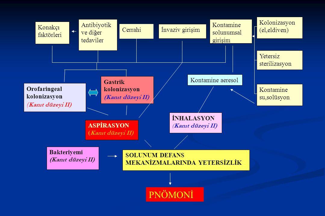 PNÖMONİ (Kanıt düzeyi II) Kolonizasyon (el,eldiven)