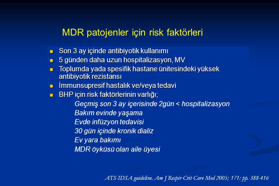 MDR patojenler için risk faktörleri