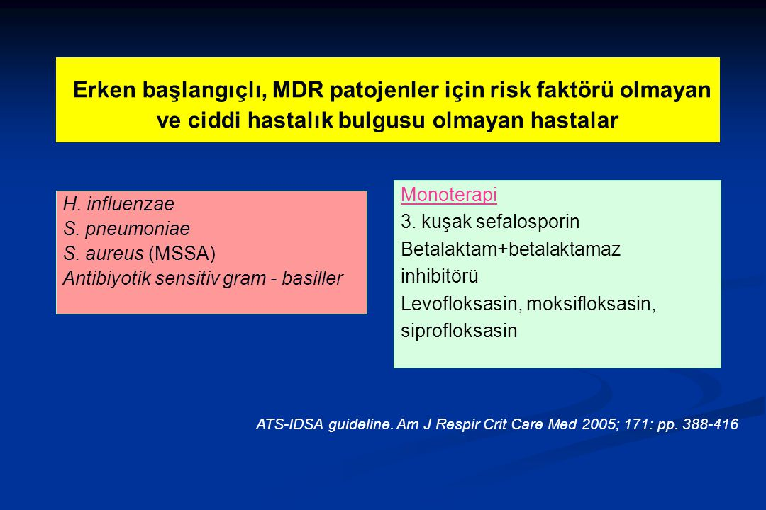 Erken başlangıçlı, MDR patojenler için risk faktörü olmayan ve ciddi hastalık bulgusu olmayan hastalar