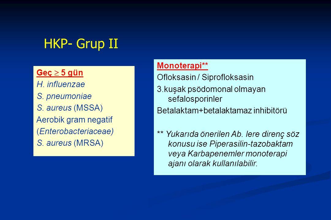 HKP- Grup II Monoterapi** Ofloksasin / Siprofloksasin Geç  5 gün