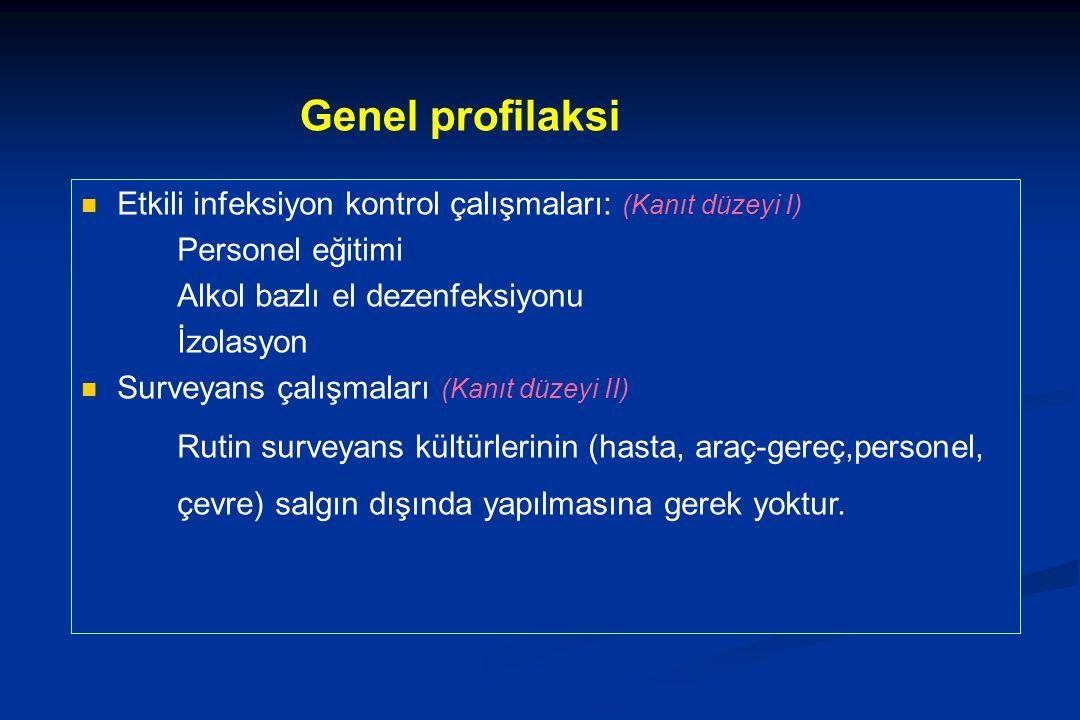 Genel profilaksi Etkili infeksiyon kontrol çalışmaları: (Kanıt düzeyi I) Personel eğitimi. Alkol bazlı el dezenfeksiyonu.