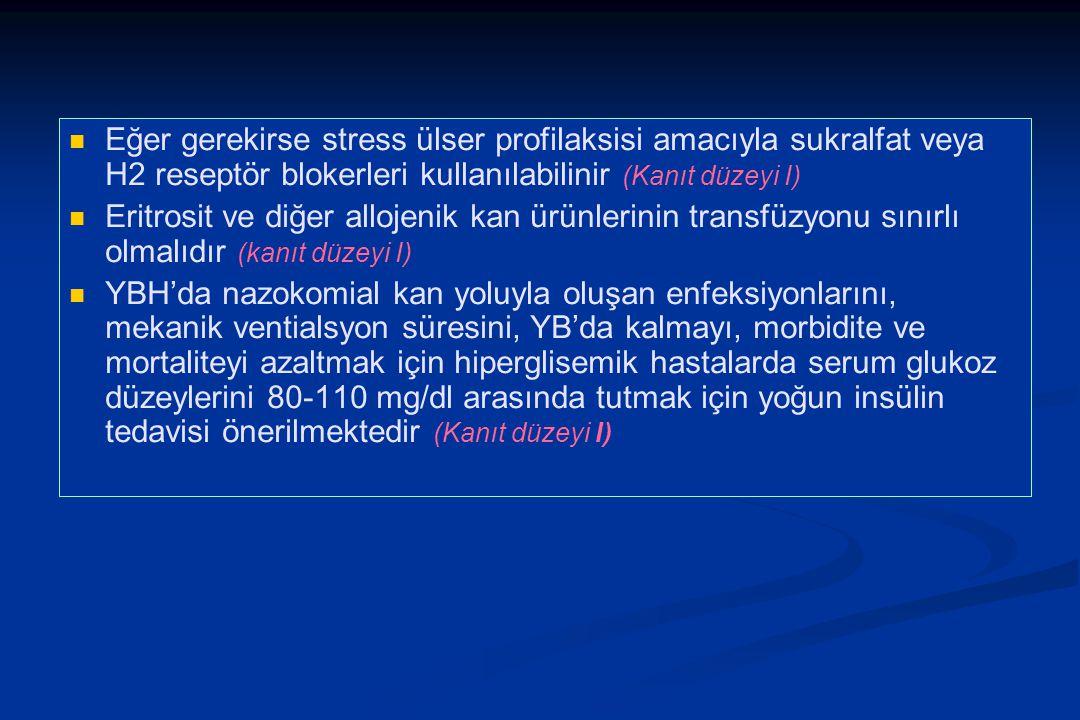 Eğer gerekirse stress ülser profilaksisi amacıyla sukralfat veya H2 reseptör blokerleri kullanılabilinir (Kanıt düzeyi I)
