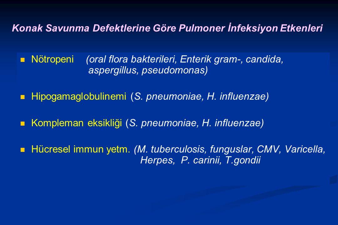 Konak Savunma Defektlerine Göre Pulmoner İnfeksiyon Etkenleri
