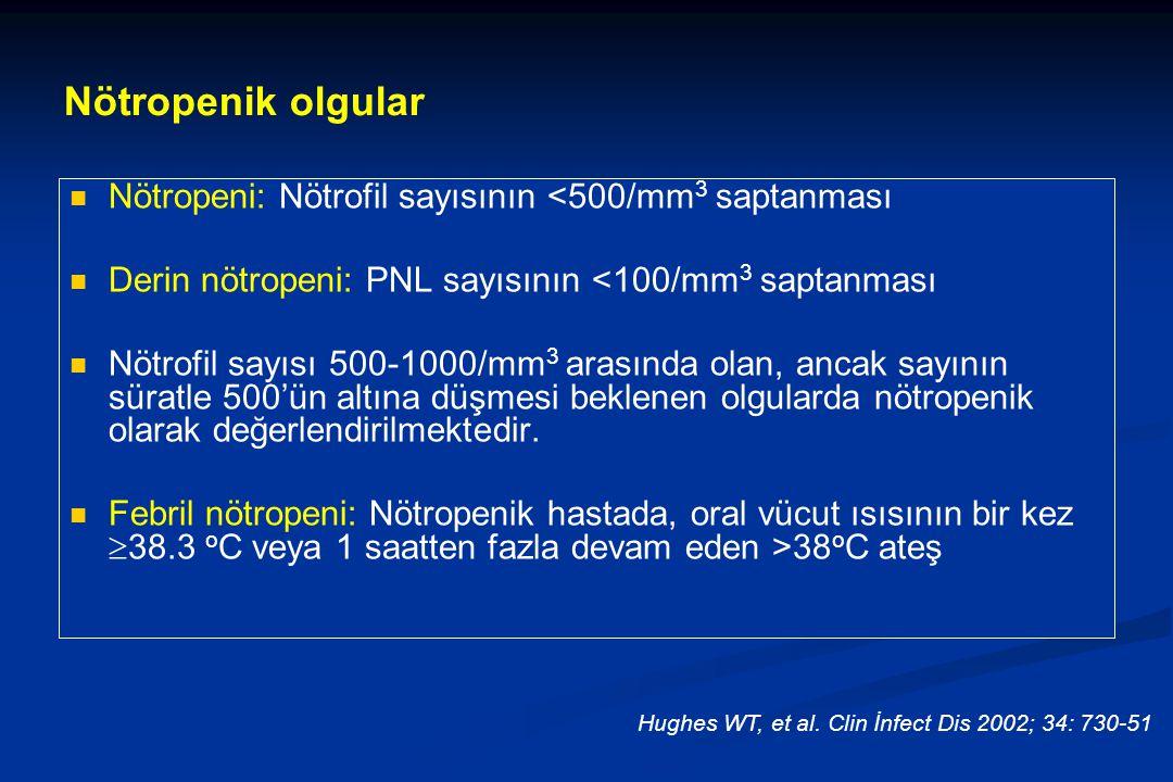 Nötropenik olgular Nötropeni: Nötrofil sayısının <500/mm3 saptanması. Derin nötropeni: PNL sayısının <100/mm3 saptanması.