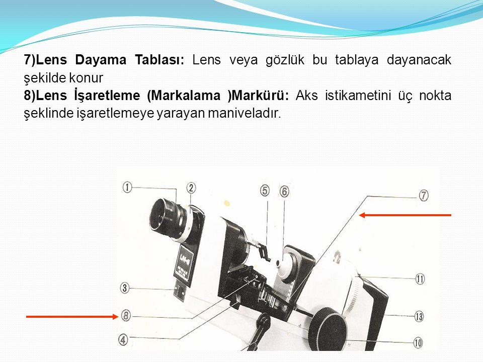 7)Lens Dayama Tablası: Lens veya gözlük bu tablaya dayanacak şekilde konur