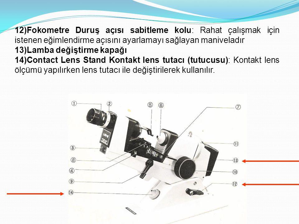 12)Fokometre Duruş açısı sabitleme kolu: Rahat çalışmak için istenen eğimlendirme açısını ayarlamayı sağlayan maniveladır