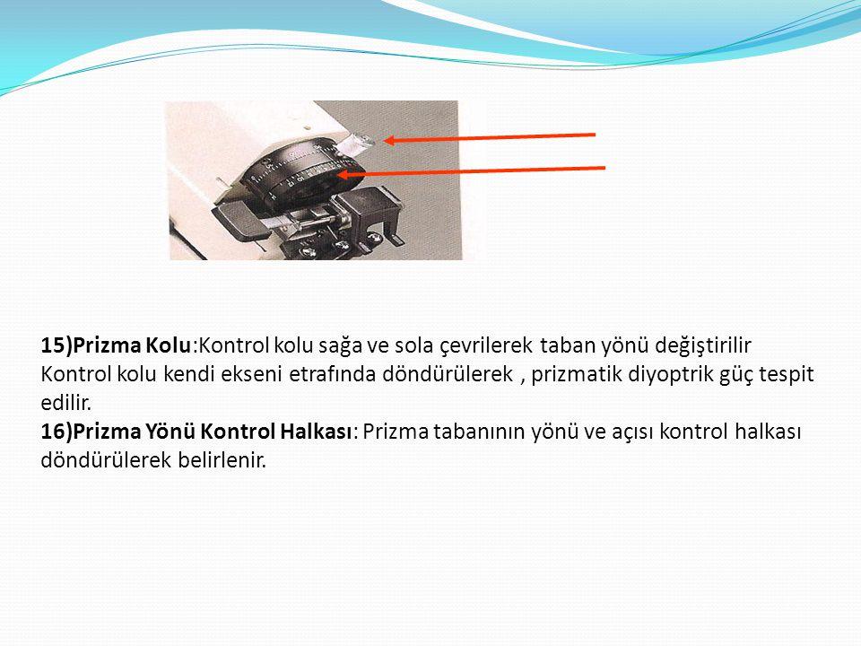15)Prizma Kolu:Kontrol kolu sağa ve sola çevrilerek taban yönü değiştirilir Kontrol kolu kendi ekseni etrafında döndürülerek , prizmatik diyoptrik güç tespit edilir.