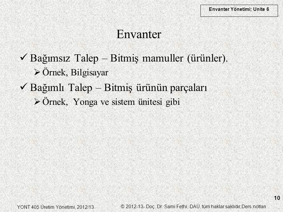 Envanter Bağımsız Talep – Bitmiş mamuller (ürünler).