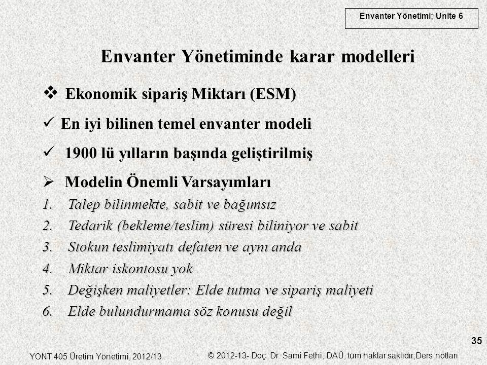 Envanter Yönetiminde karar modelleri