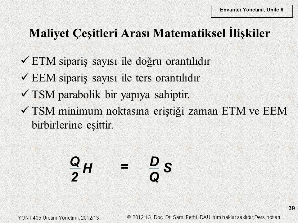 Maliyet Çeşitleri Arası Matematiksel İlişkiler