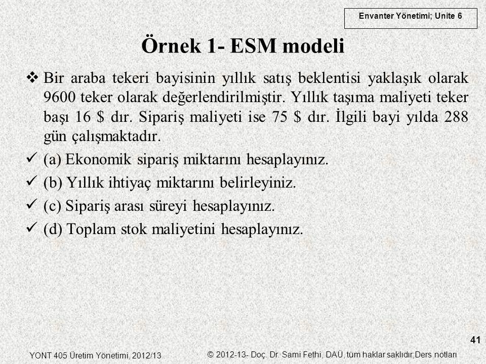 Örnek 1- ESM modeli