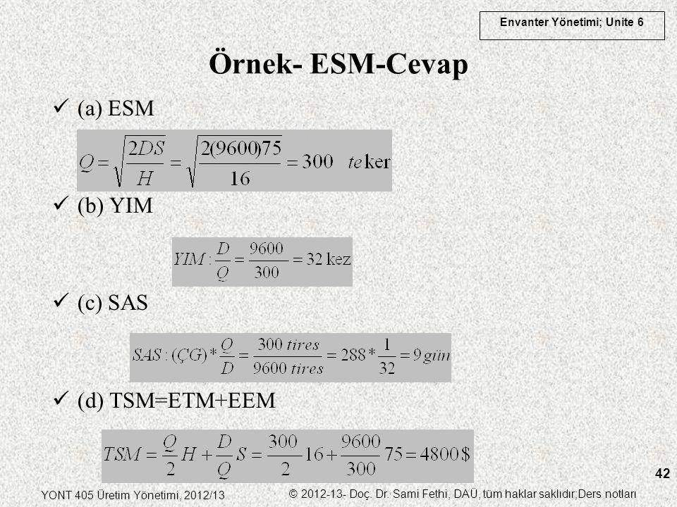 Örnek- ESM-Cevap (a) ESM (b) YIM (c) SAS (d) TSM=ETM+EEM