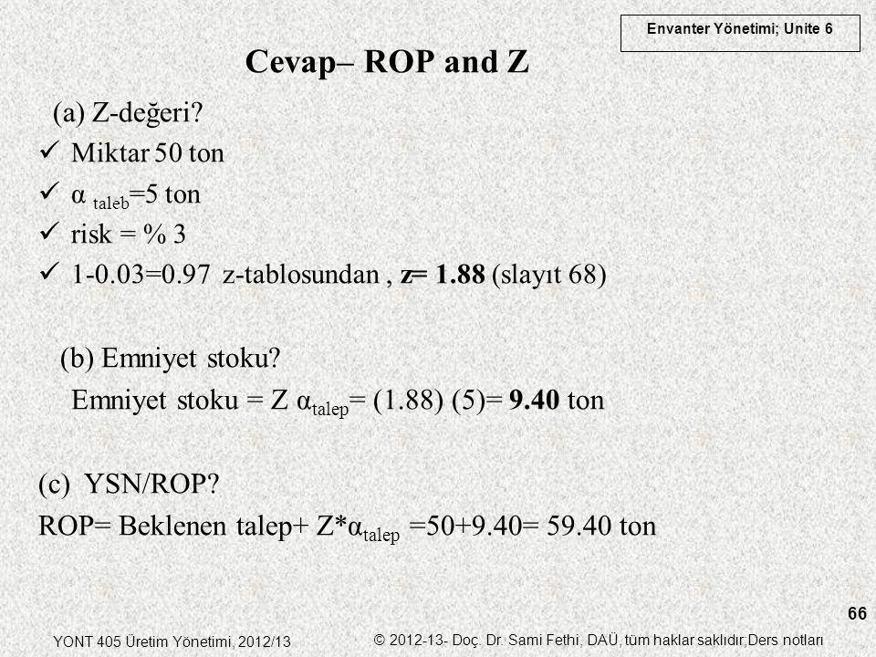 Cevap– ROP and Z (a) Z-değeri (b) Emniyet stoku