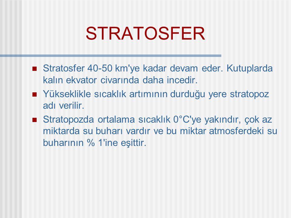 STRATOSFER Stratosfer 40-50 km ye kadar devam eder. Kutuplarda kalın ekvator civarında daha incedir.