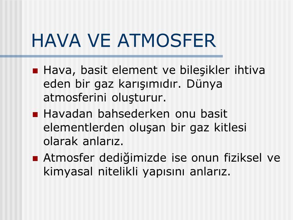 HAVA VE ATMOSFER Hava, basit element ve bileşikler ihtiva eden bir gaz karışımıdır. Dünya atmosferini oluşturur.