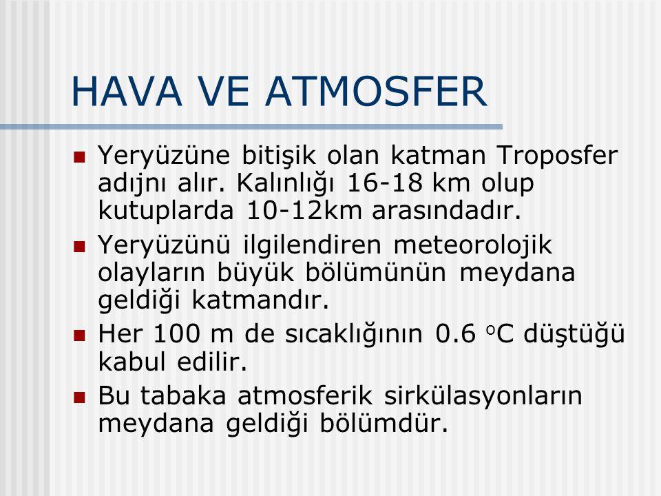 HAVA VE ATMOSFER Yeryüzüne bitişik olan katman Troposfer adıjnı alır. Kalınlığı 16-18 km olup kutuplarda 10-12km arasındadır.