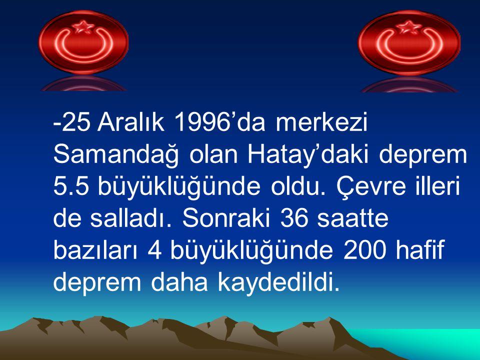 25 Aralık 1996'da merkezi Samandağ olan Hatay'daki deprem 5