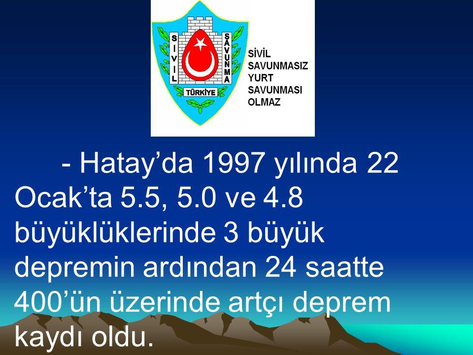 - Hatay'da 1997 yılında 22 Ocak'ta 5. 5, 5. 0 ve 4
