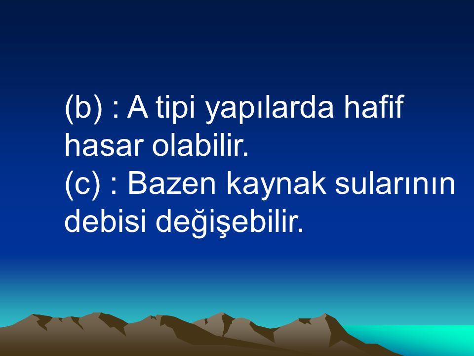 (b) : A tipi yapılarda hafif hasar olabilir.