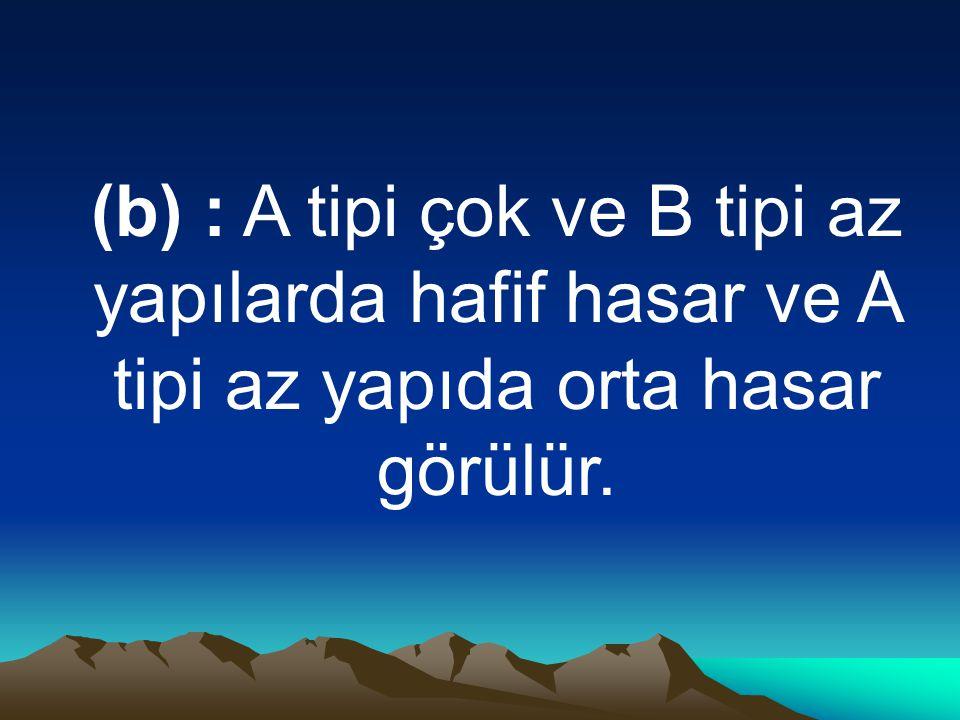 (b) : A tipi çok ve B tipi az yapılarda hafif hasar ve A tipi az yapıda orta hasar görülür.