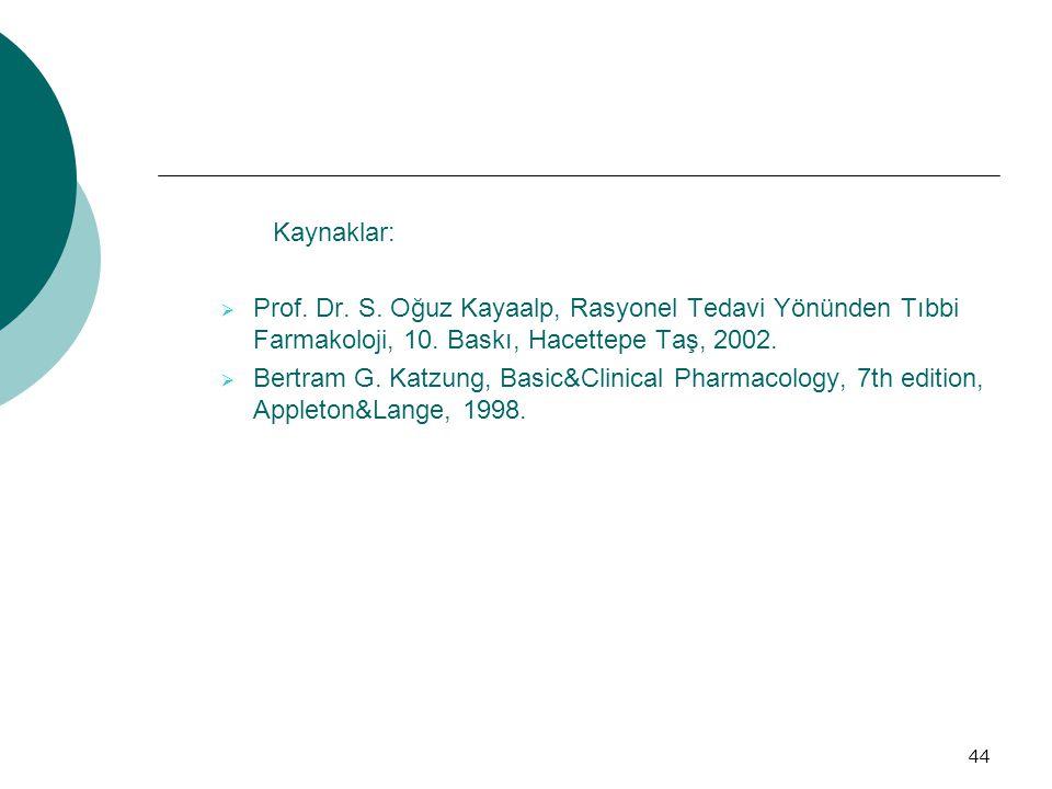 Kaynaklar: Prof. Dr. S. Oğuz Kayaalp, Rasyonel Tedavi Yönünden Tıbbi Farmakoloji, 10. Baskı, Hacettepe Taş, 2002.
