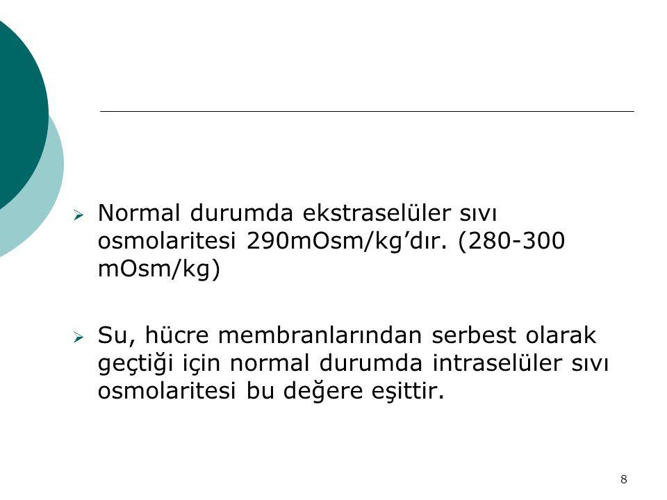 Normal durumda ekstraselüler sıvı osmolaritesi 290mOsm/kg'dır