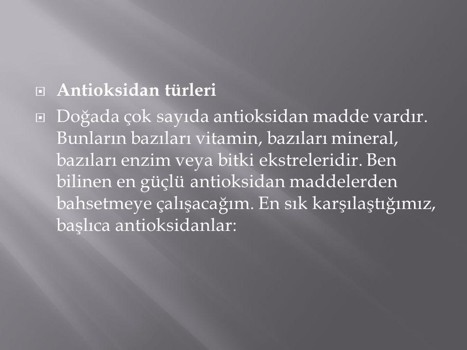 Antioksidan türleri
