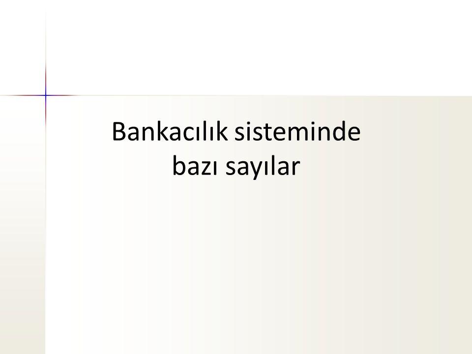 Bankacılık sisteminde bazı sayılar
