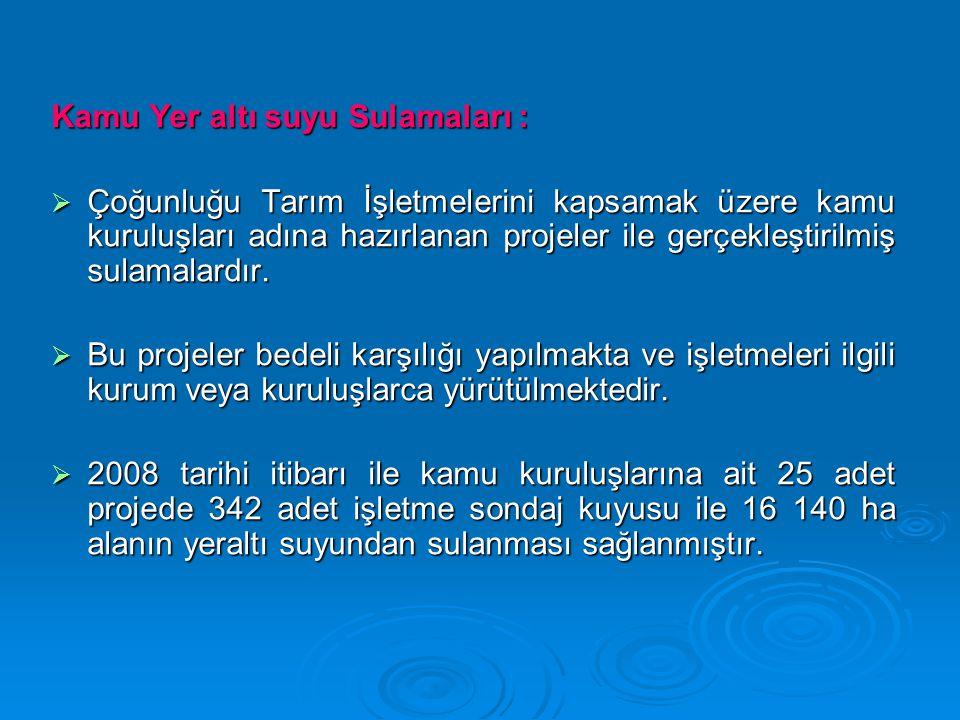 Kamu Yer altı suyu Sulamaları :