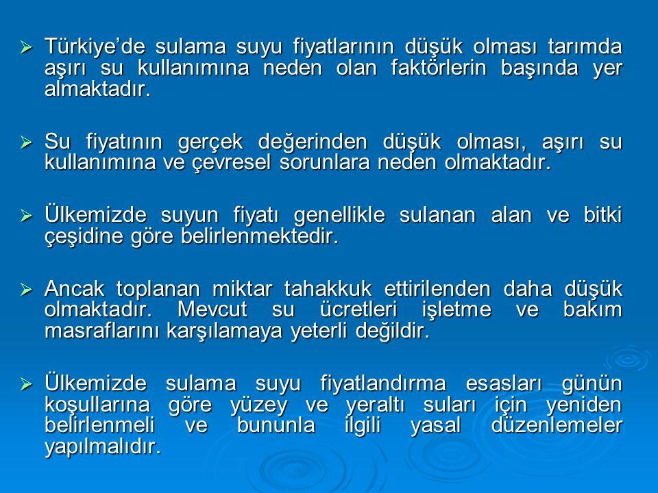 Türkiye'de sulama suyu fiyatlarının düşük olması tarımda aşırı su kullanımına neden olan faktörlerin başında yer almaktadır.