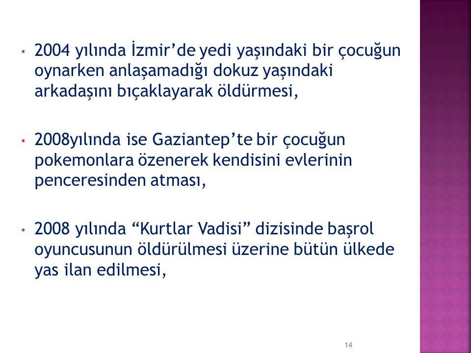 2004 yılında İzmir'de yedi yaşındaki bir çocuğun oynarken anlaşamadığı dokuz yaşındaki arkadaşını bıçaklayarak öldürmesi,