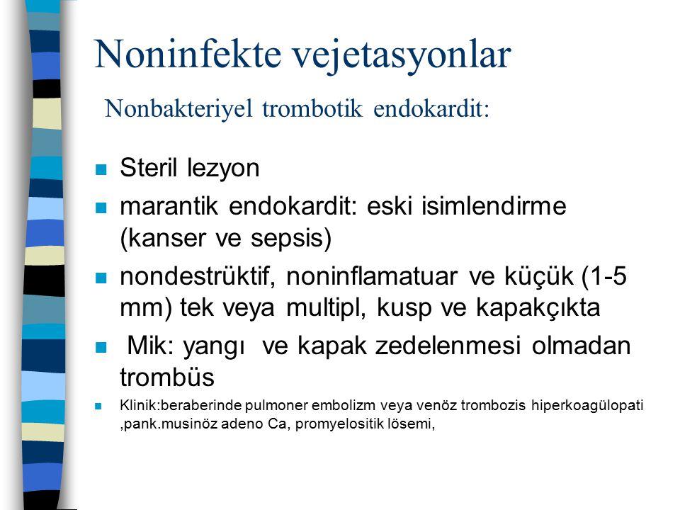 Noninfekte vejetasyonlar Nonbakteriyel trombotik endokardit: