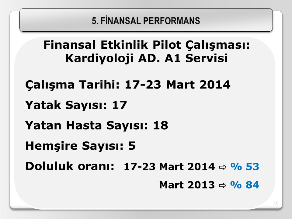 Finansal Etkinlik Pilot Çalışması: Kardiyoloji AD. A1 Servisi