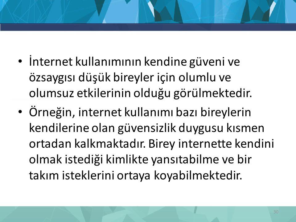 İnternet kullanımının kendine güveni ve özsaygısı düşük bireyler için olumlu ve olumsuz etkilerinin olduğu görülmektedir.