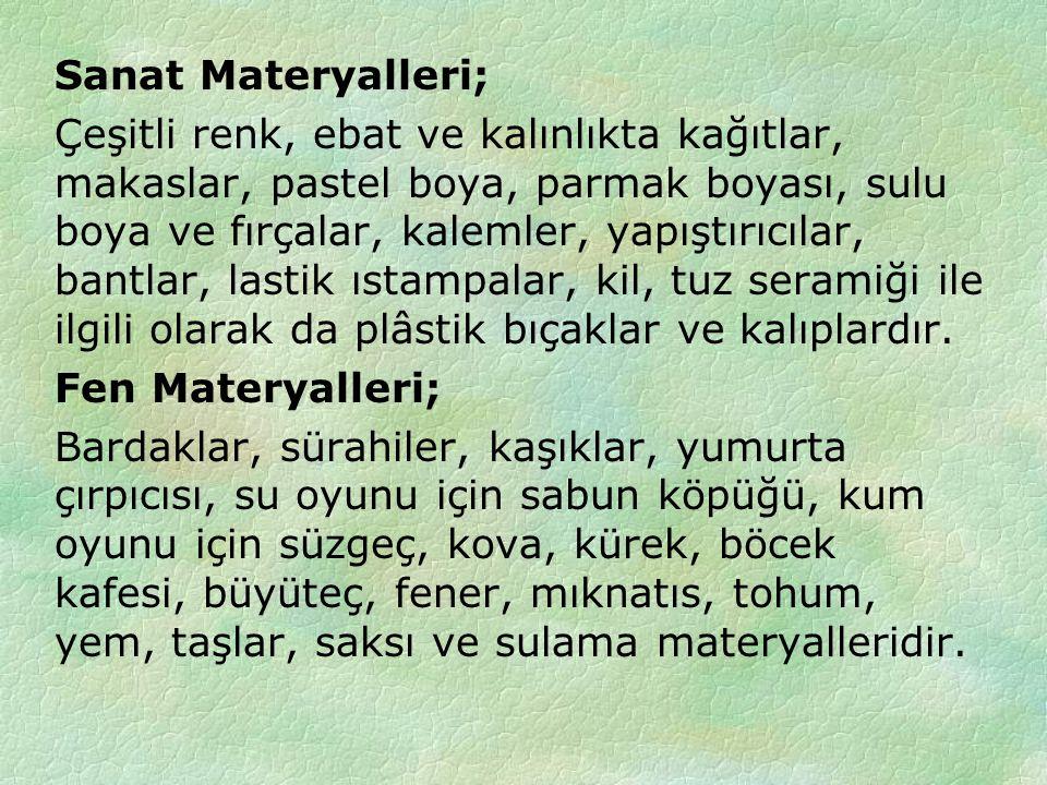 Sanat Materyalleri;