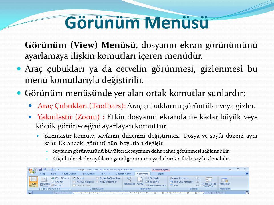 Görünüm Menüsü Görünüm (View) Menüsü, dosyanın ekran görünümünü ayarlamaya ilişkin komutları içeren menüdür.