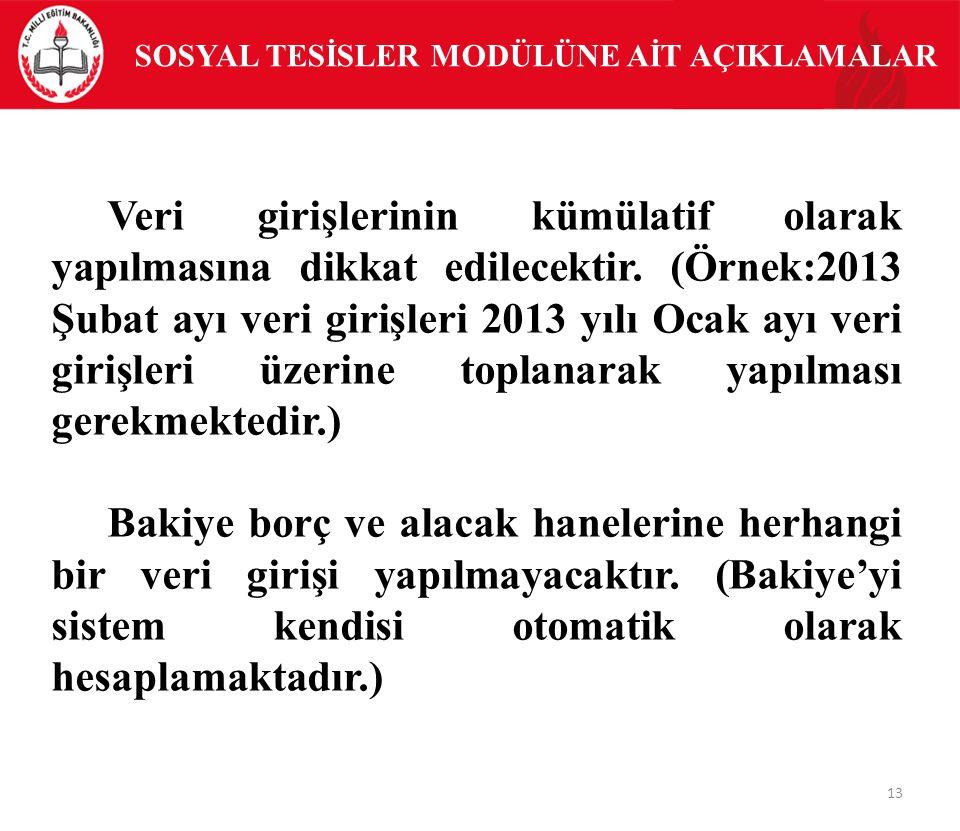 SOSYAL TESİSLER MODÜLÜNE AİT AÇIKLAMALAR