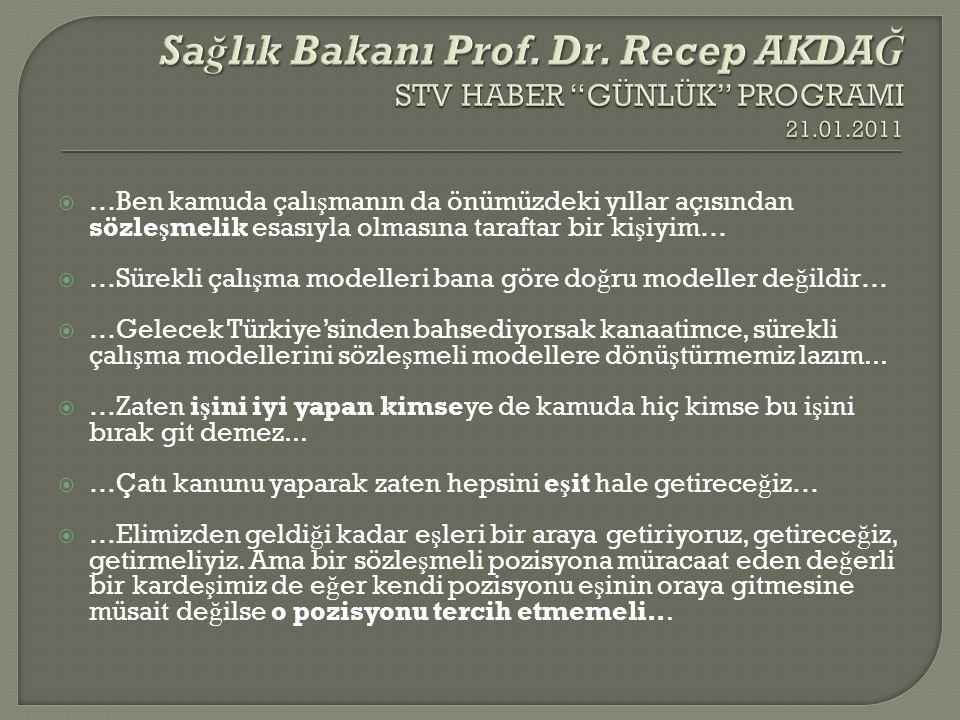 Sağlık Bakanı Prof. Dr. Recep AKDAĞ STV HABER GÜNLÜK PROGRAMI 21. 01
