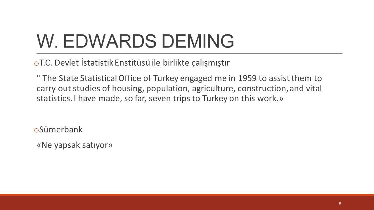 W. EDWARDS DEMING T.C. Devlet İstatistik Enstitüsü ile birlikte çalışmıştır.