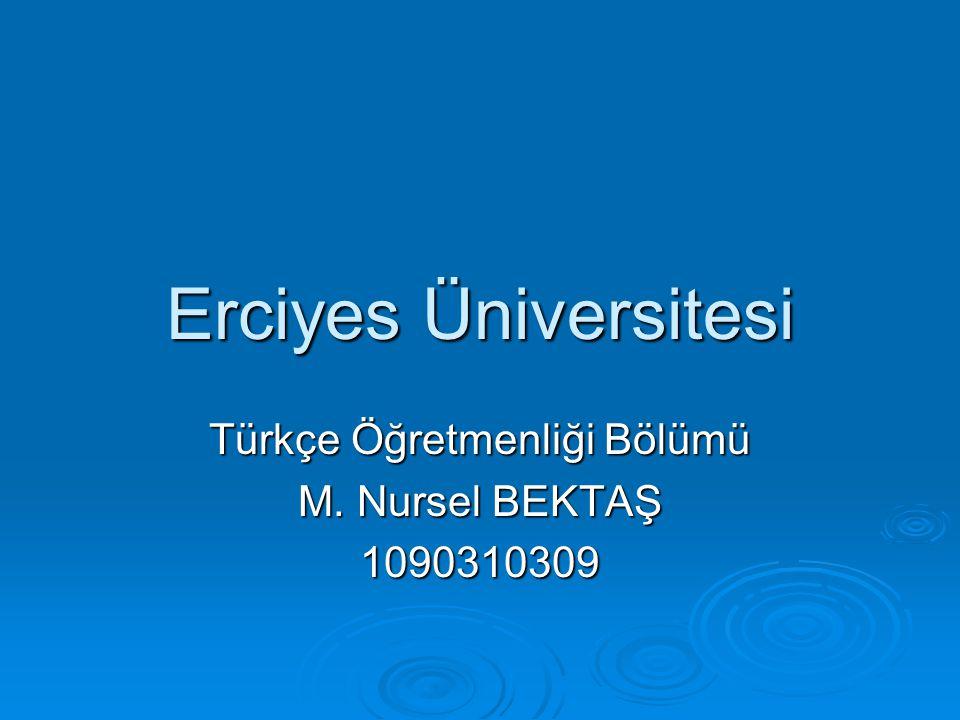 Türkçe Öğretmenliği Bölümü M. Nursel BEKTAŞ 1090310309
