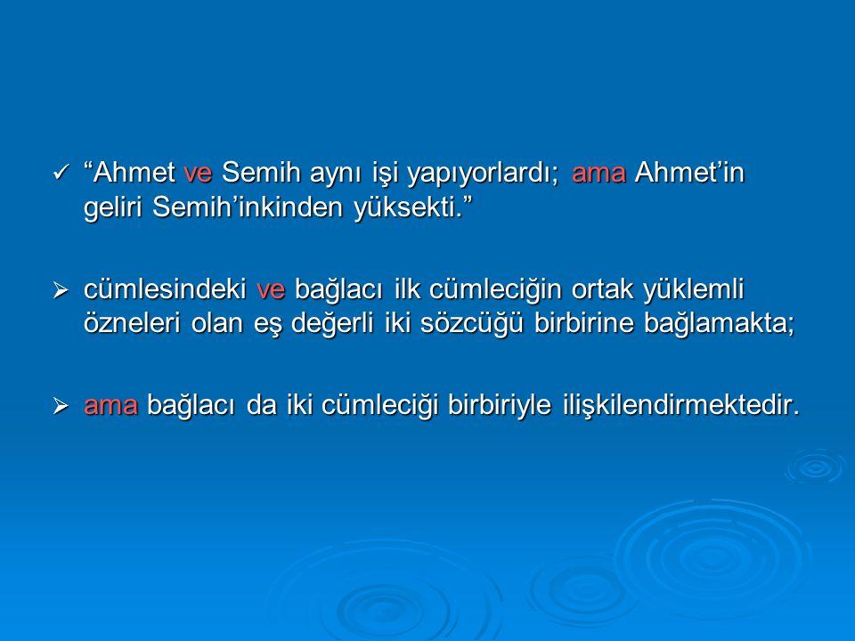 Ahmet ve Semih aynı işi yapıyorlardı; ama Ahmet'in geliri Semih'inkinden yüksekti.